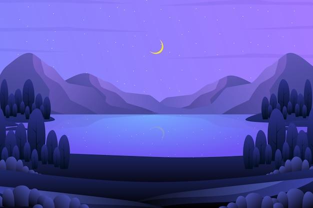 紫色の空と木の風景イラストと丘の中腹の背景 Premiumベクター