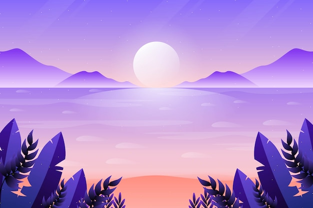 美しい夕焼け空と海の背景 Premiumベクター