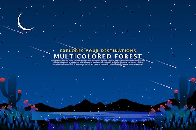 Шаблон неба и моря ночной пейзаж Premium векторы