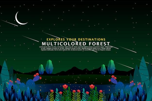 緑の森の背景テンプレート Premiumベクター