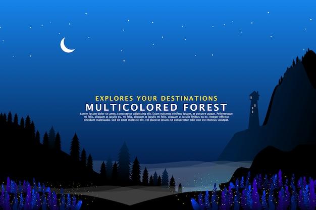 ピーク山の松の木 Premiumベクター
