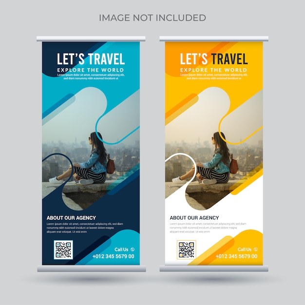 旅行ロールアップバナー Premiumベクター