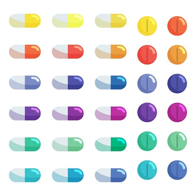 Набор таблеток и капсул таблеток. антибиотики, витамины и обезболивающие препараты. Premium векторы