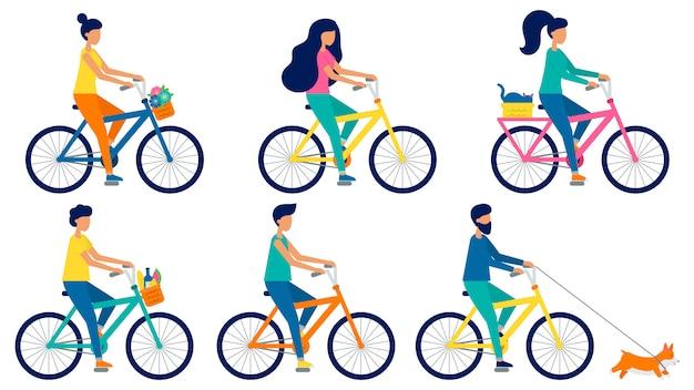 自転車に乗って平らなベクトル人のセットです。男性と女性のバイク猫、食べ物、かごの中の花。かわいいコーギー犬が走っています。漫画のスタイルのイラスト Premiumベクター
