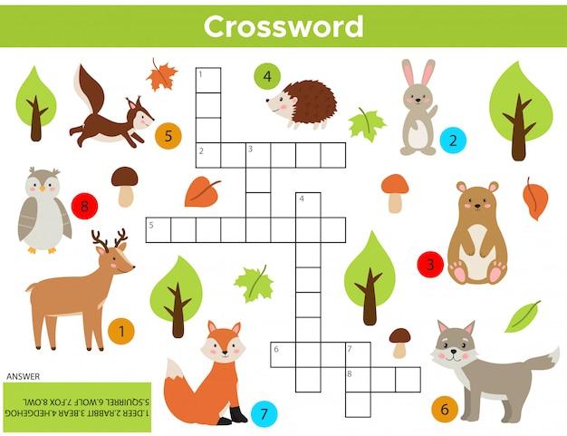 ベクトル森林動物クロスワード英語。 Premiumベクター