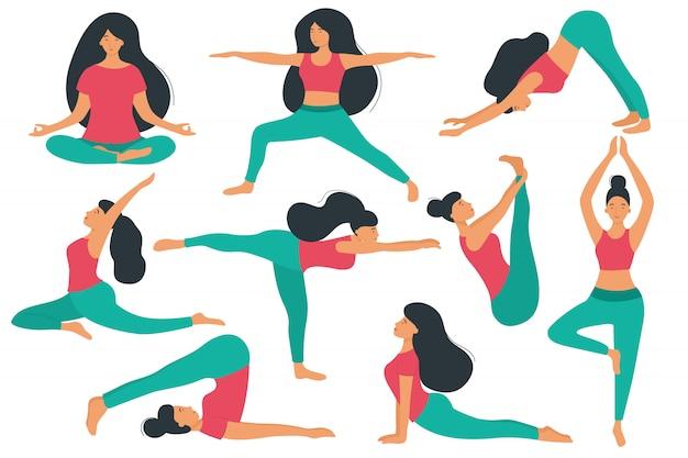 女性はヨガ、さまざまなアーサナやポーズをします。ベクトルの漫画のキャラクター。ヨガの練習のセットです。 Premiumベクター