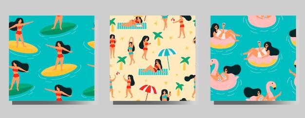 夏のシームレスなパターンセット。ビーチでリラックスしたり、日光浴をしたり、海や海で泳いだり、本を読んだり、ボールをしたりする女性。 Premiumベクター