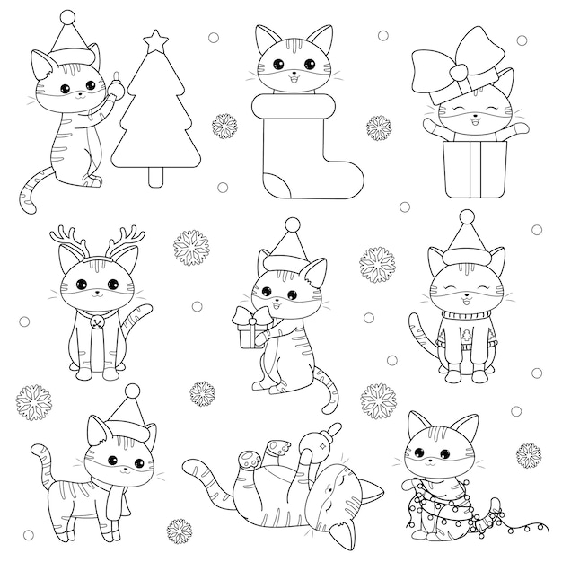Каваи набор рождественских кошек Premium векторы