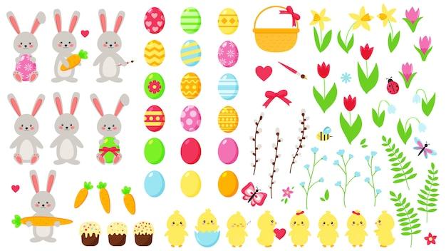 大きなイースターセット。かわいいかわいいキャラクター:ウサギとひよこ。手描きの平らな春の花。イースターエッグ。装飾要素。 Premiumベクター