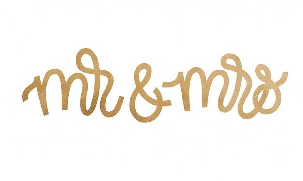 Мистер и миссис текст на белом фоне. Premium векторы