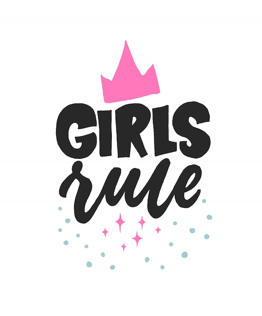 女の子のルール。クリエイティブレタリングガーリーポストカード。書道インスピレーショングラフィックデザイン、女性のタイポグラフィ要素。 Premiumベクター