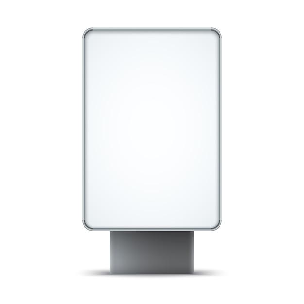 白い背景に分離された空白の屋外ライトボックス。 Premiumベクター