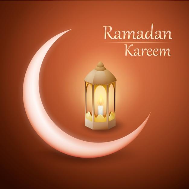 Рамадан карим векторный дизайн с фонарем и полумесяцем Premium векторы