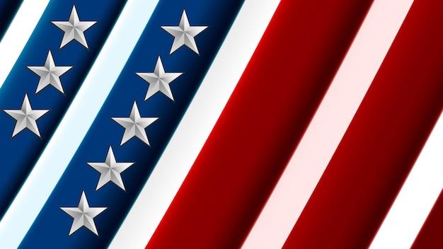 アメリカ合衆国の旗。 Premiumベクター