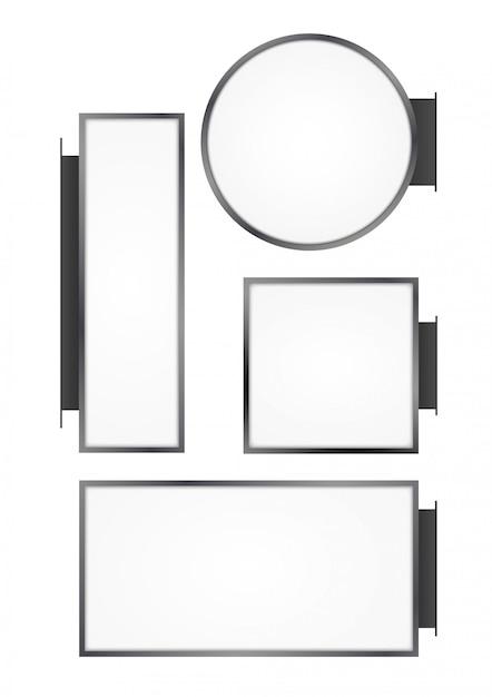 Глухой настенный уличный магазин. вывеска пустая круглая, прямоугольная, квадратная вывеска лайтбокс Premium векторы