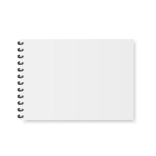Пустой блокнот, тетрадь, меню с металлической спиралью. Premium векторы