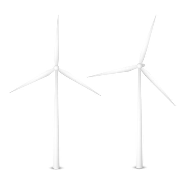 風力発電機のベクトルイラスト。孤立した風力タービン Premiumベクター