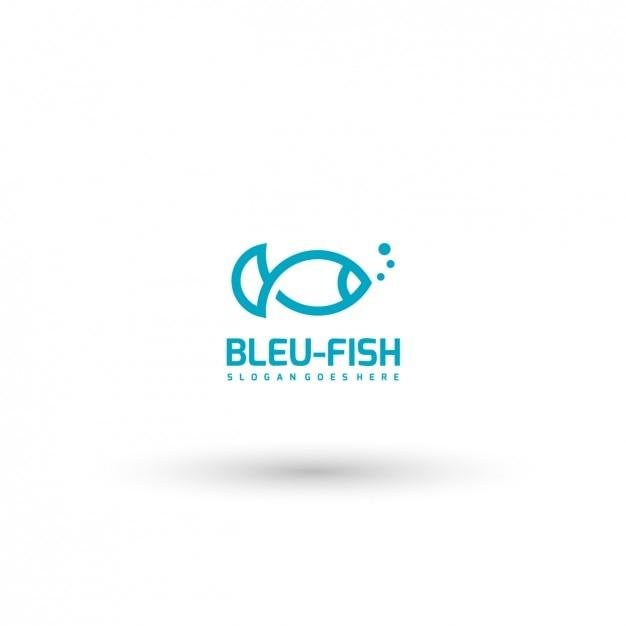 青い魚ロゴテンプレート 無料ベクター