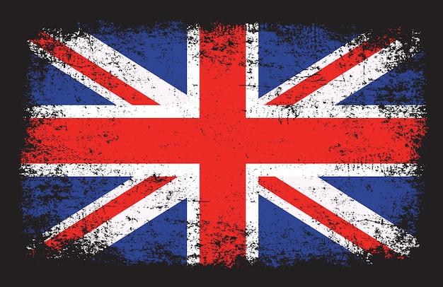 Флаг великобритании в стиле гранж Premium векторы