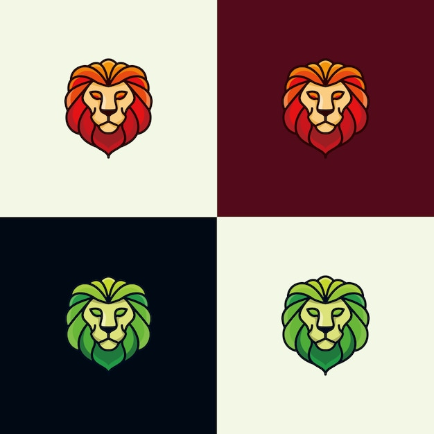カラフルなライオンのロゴデザインのインスピレーション - ベクトル Premiumベクター