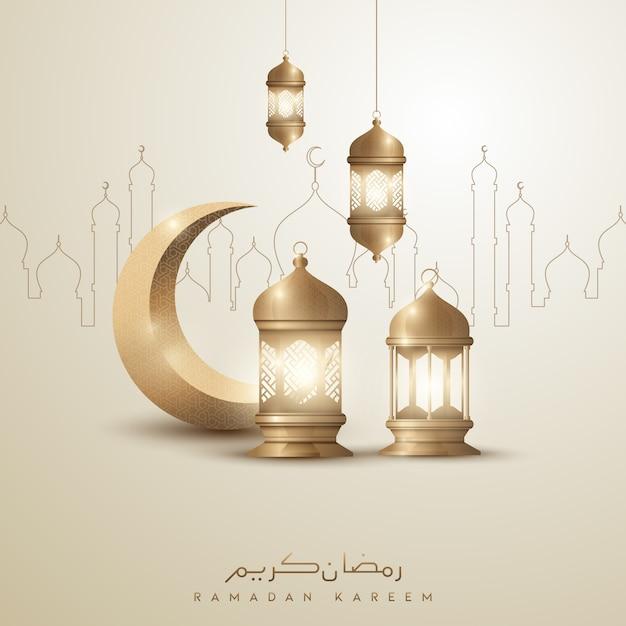 金の三日月とランタンのラマダンカリームイスラム挨拶背景デザイン Premiumベクター