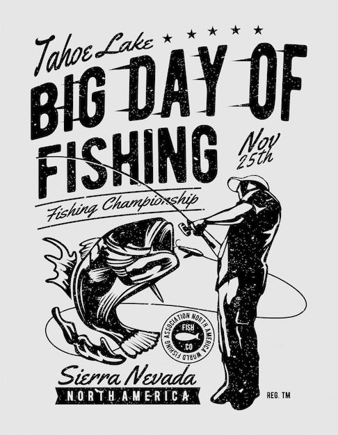 Большой день рыбалки Premium векторы