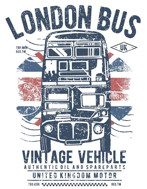 Лондонский автобус дизайн иллюстрации Premium векторы