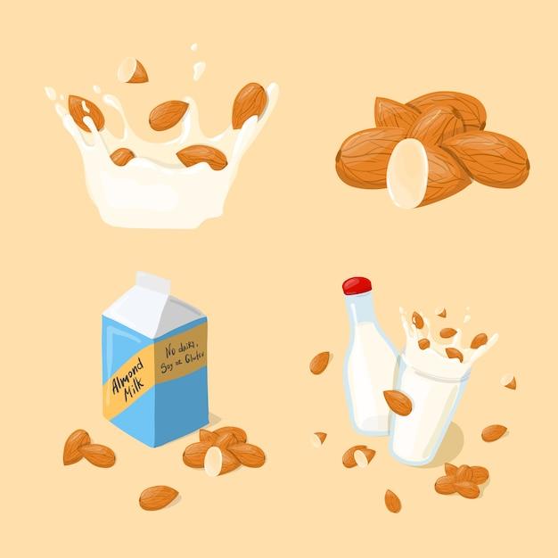 アーモンドミルクグラス、スプラッシュ、ボトル、パックベクトルを設定します。分離された健康的な食事漫画イラスト Premiumベクター