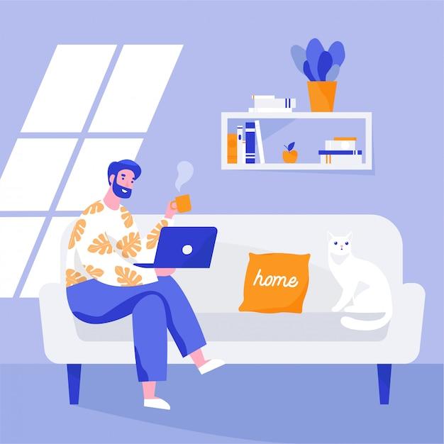 Человек сидит на диване и работает на ноутбуке. фрилансер дома на рабочем месте. плоская иллюстрация. Premium векторы