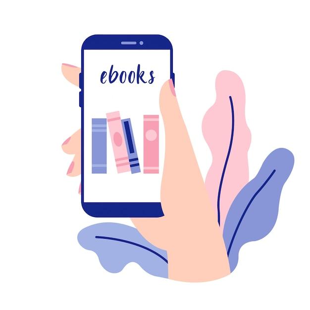 電子ブックリーダーアプリとスマートフォンを持っている女性の手。ベクトルスマートフォン、モバイルデバイス、デザインモバイルアプリ。 Premiumベクター