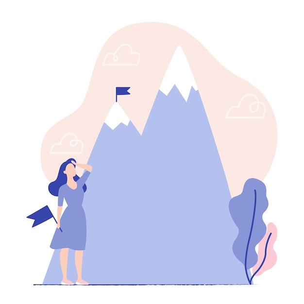 Бизнес-концепция, достижение цели, успех, победа. женщина держит флаг и глядя на горы. флаг на вершине горы. Premium векторы