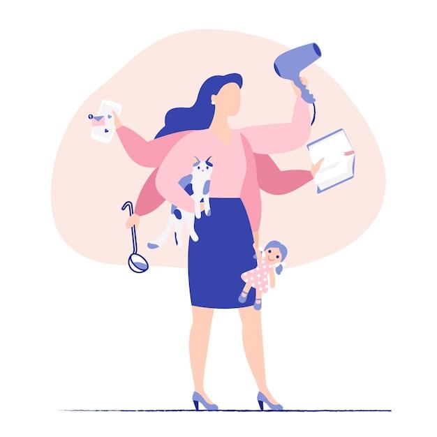 Многозадачность бизнес женщина и мать концепция. молодая мать и деловая женщина с шестью руками делает много задач одновременно. Premium векторы