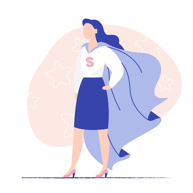 スーパーヒーローマントを着ている女性のビジネス。女性力、女性ビジネス、勇敢な女性。フラットのベクトル図 Premiumベクター