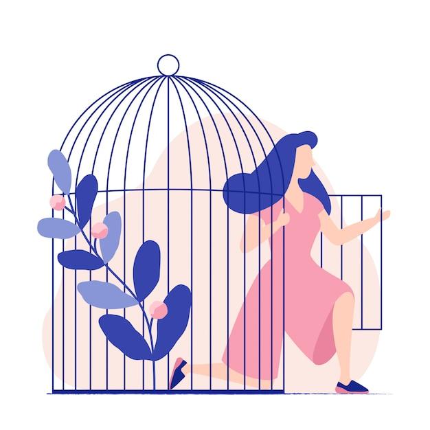 檻の中の女性。女性は鳥かごから出てくる。女性は自由になります。自由。平らなカラフルなベクトルイラスト。 Premiumベクター