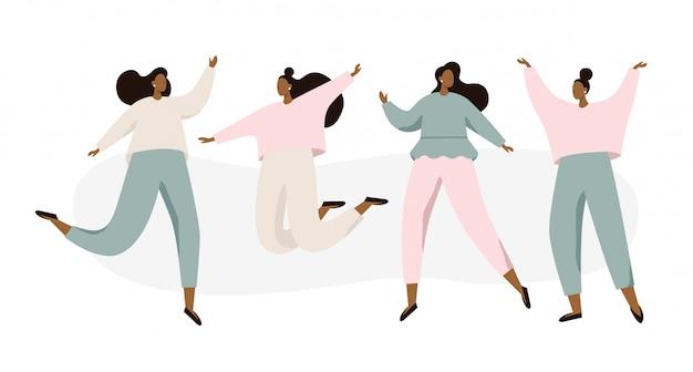 Группа счастливых танцующих женщин на белом фоне Premium векторы
