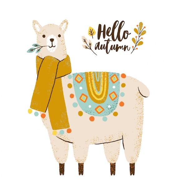 Симпатичная лама в шарфе. привет осенняя надпись. красочная иллюстрация. Premium векторы