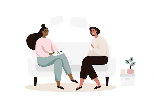 ソファの上に座って心理学者または心理療法士の女性患者。心理療法セッション。メンタルヘルス、うつ病。フラットの図。 Premiumベクター