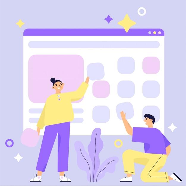 Создание сайта, процесс создания веб-страницы. дизайн для мобильной и веб-графики. работа в команде. плоские векторные иллюстрации Premium векторы