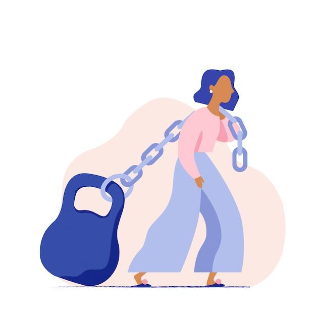 女性が鎖に重いものを引っ張ります。女性の大きな社会的負荷の概念巨大な体重を運ぶ女性。ビジネスの女性が住宅ローンに苦しんでいます。 Premiumベクター