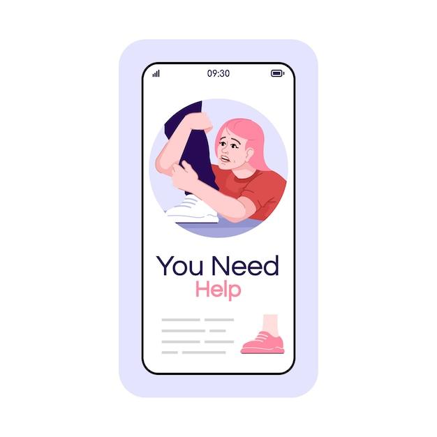 強迫的な関係のソーシャルメディア投稿のスマートフォンアプリの画面。漫画のキャラクターデザインの携帯電話ディスプレイ。プロの心理的支援アプリケーション電話インターフェース Premiumベクター