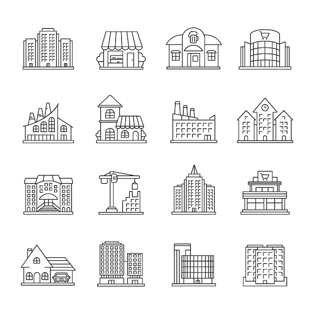 Городские здания установлены линейные иконки Premium векторы