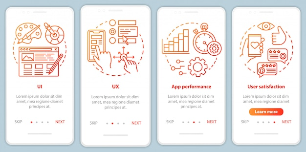 Разработка программного обеспечения на экране мобильного приложения Premium векторы