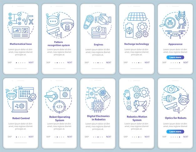 Курсы робототехники на экране мобильного приложения Premium векторы