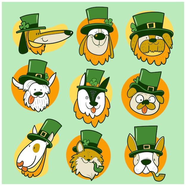 聖パトリックの日の犬 Premiumベクター
