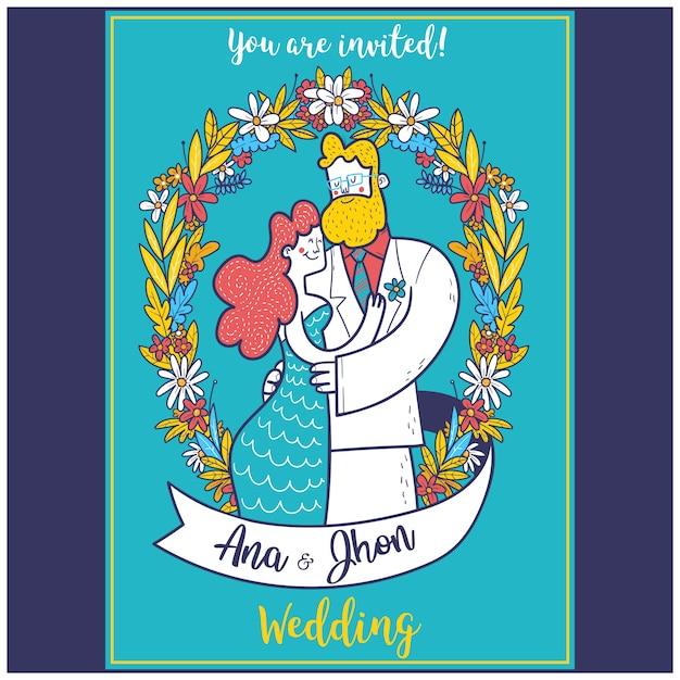 Пара портрет иллюстрация свадебные приглашения шаблон Premium векторы