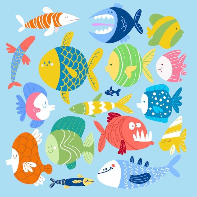 漫画スタイルの魚のセット Premiumベクター