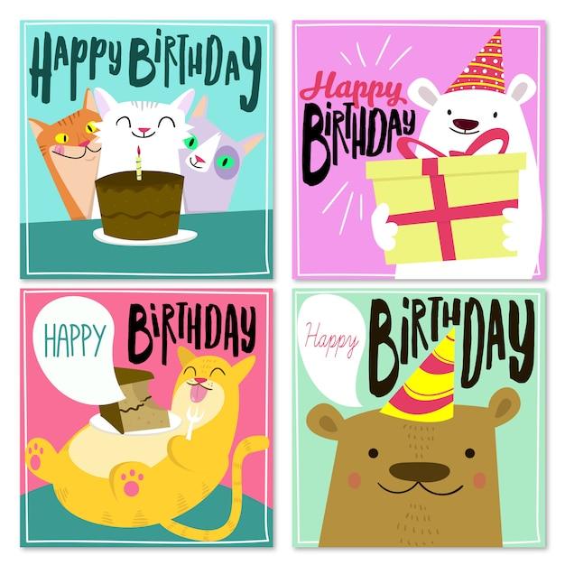 誕生日おめでとうカードコレクション Premiumベクター