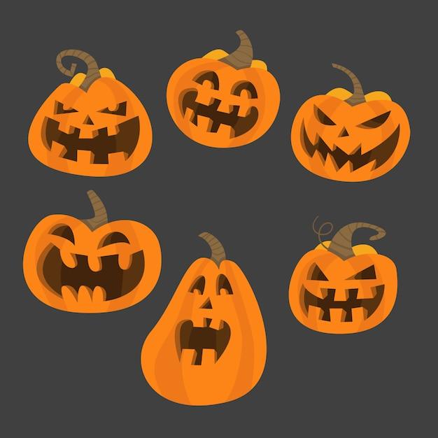 Набор хэллоуин страшных тыкв. плоский стиль вектор жуткие жуткие тыквы Premium векторы