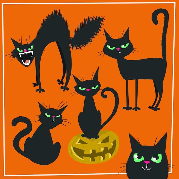 手描きハロウィーン黒猫 Premiumベクター