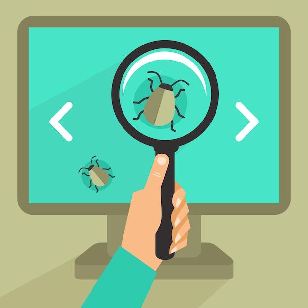 平らなレトロなスタイル - バグとプログラミングコードのウイルスのベクトルの概念 Premiumベクター